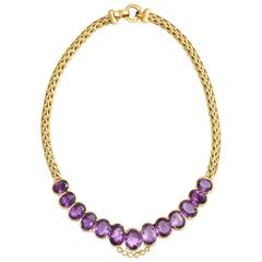 Roberto coin 1980s Amethyst Diamond Gold Collar Necklace With Sapphire Clasp