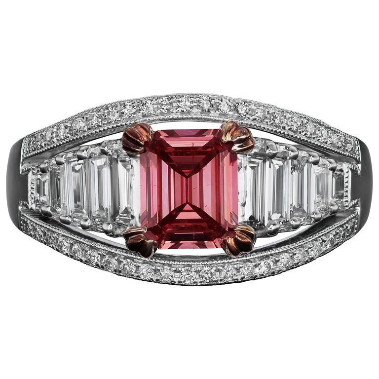 1.10 Carat Emerald Cut GIA Certified Fancy Deep Pink Diamond Gold Ring