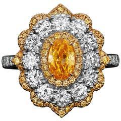 Fancy Intense Yellow Orange Oval Diamond Gold Ring