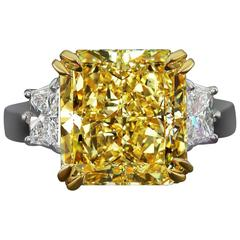 3.81 Carat GIA Certified Radiant Diamond Platinum Ring