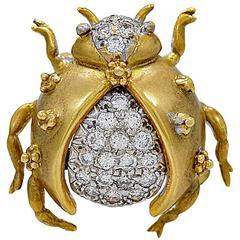 Diamond Gold Beetle Brooch
