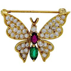 1.00 Carat Ruby Emerald Diamond Gold Butterfly Brooch