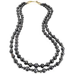 Naomi Sarna Black Diamond Double Strand Necklace with Diamond Gold Clasp