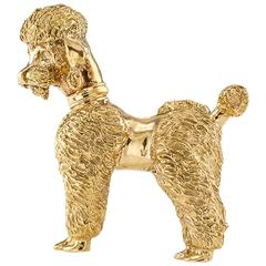 1950s Gold Poodle Brooch with Diamond Eyes