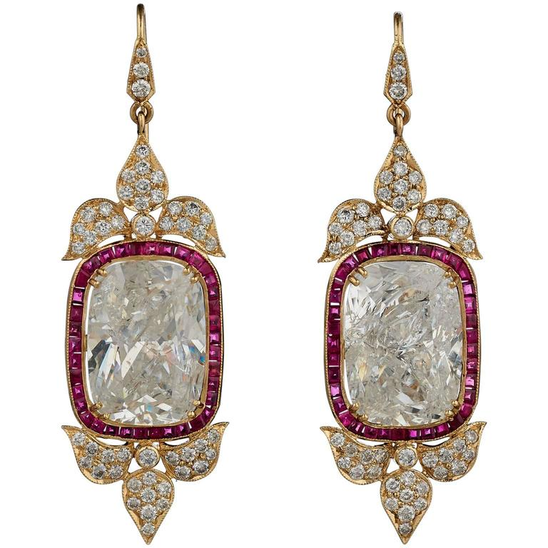 Indian Rock Crystal Ruby Diamond Gold Earrings For Sale