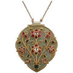 Indian Pendant Jade and Precious Gems In Gold