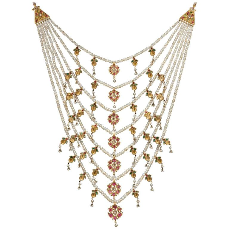 Indian Antique Seven Strand Necklace With Precious Gem Stones and Pearls