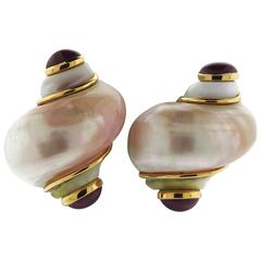 Seaman Schepps Large Turbo Shell Ruby Gold Earrings