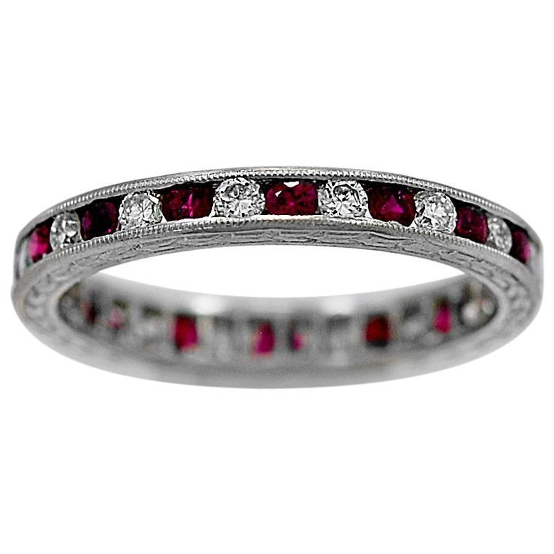 ruby platinum wedding band ring at 1stdibs