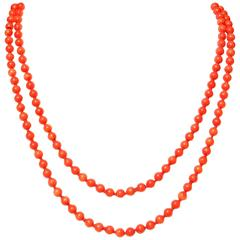 Long Coral Bead Gold Necklace
