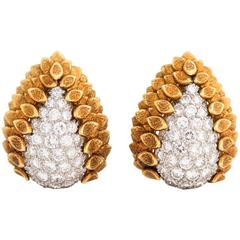 1970s David Webb Diamond and 18 Karat Gold Earrings
