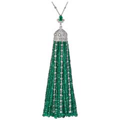 Incredible Important Emerald Diamond Gold Tassel Necklace