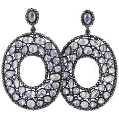 Moonstone Diamond Silver Fashion Earrings
