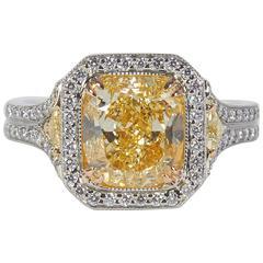 4 Carat Internally Flawless GIA Cert Yellow Diamond Platinum Ring