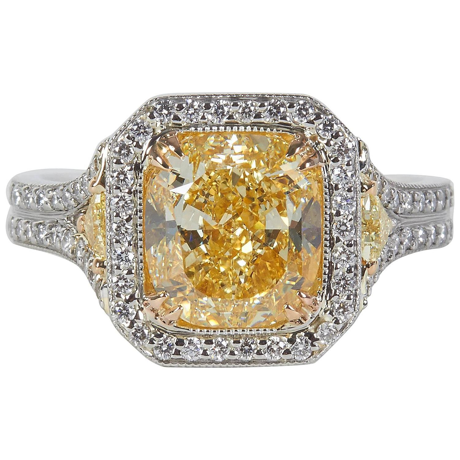 4 Carat Internally Flawless GIA Cert Yellow Diamond Platinum Ring For Sale at