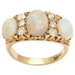 Opal Diamond Gold Late Victorian Ring