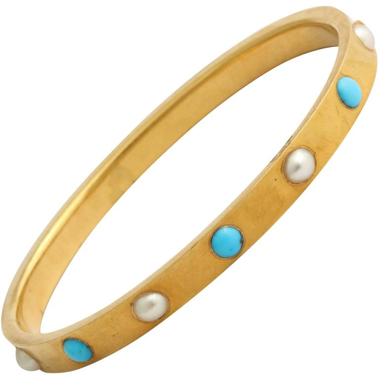Persian Turquoise Pearl Gold Bangle Bracelet For