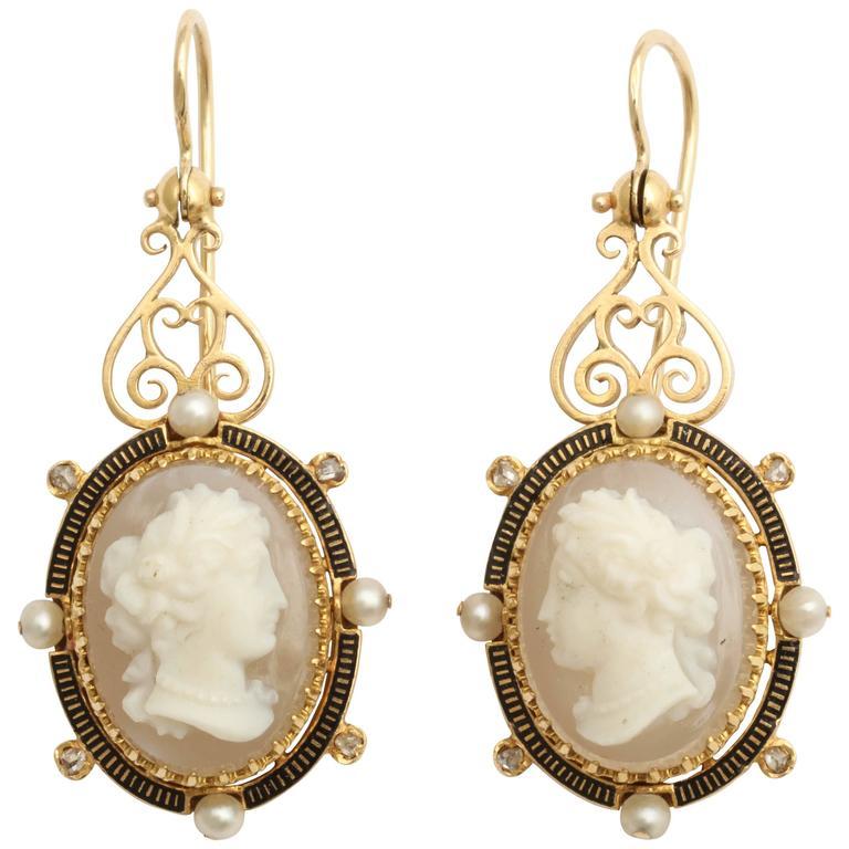 Enamel Pearl Diamond Gold Cameo Earrings For