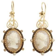 Enamel Pearl Diamond Gold Cameo Earrings