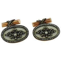 Enamel Diamond Silver-Topped Gold Cufflinks