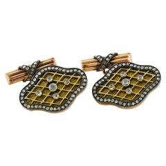 Diamond Enamel & Silver-topped Gold Cufflings, Imperial Russian Style
