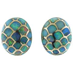 Angela Cummings Opal Inlay Gold Fish Scale Motif Earrings