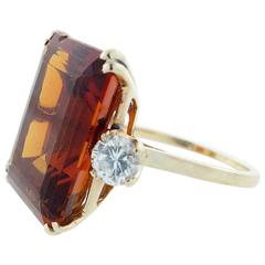 Pure and Simple Design Golden Citrine Diamond Gold Ring