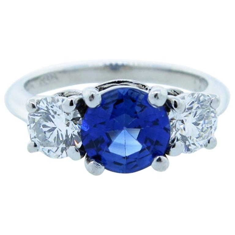Tiffany and Co Scintillating Sapphire Diamond Platinum Ring at 1stdibs
