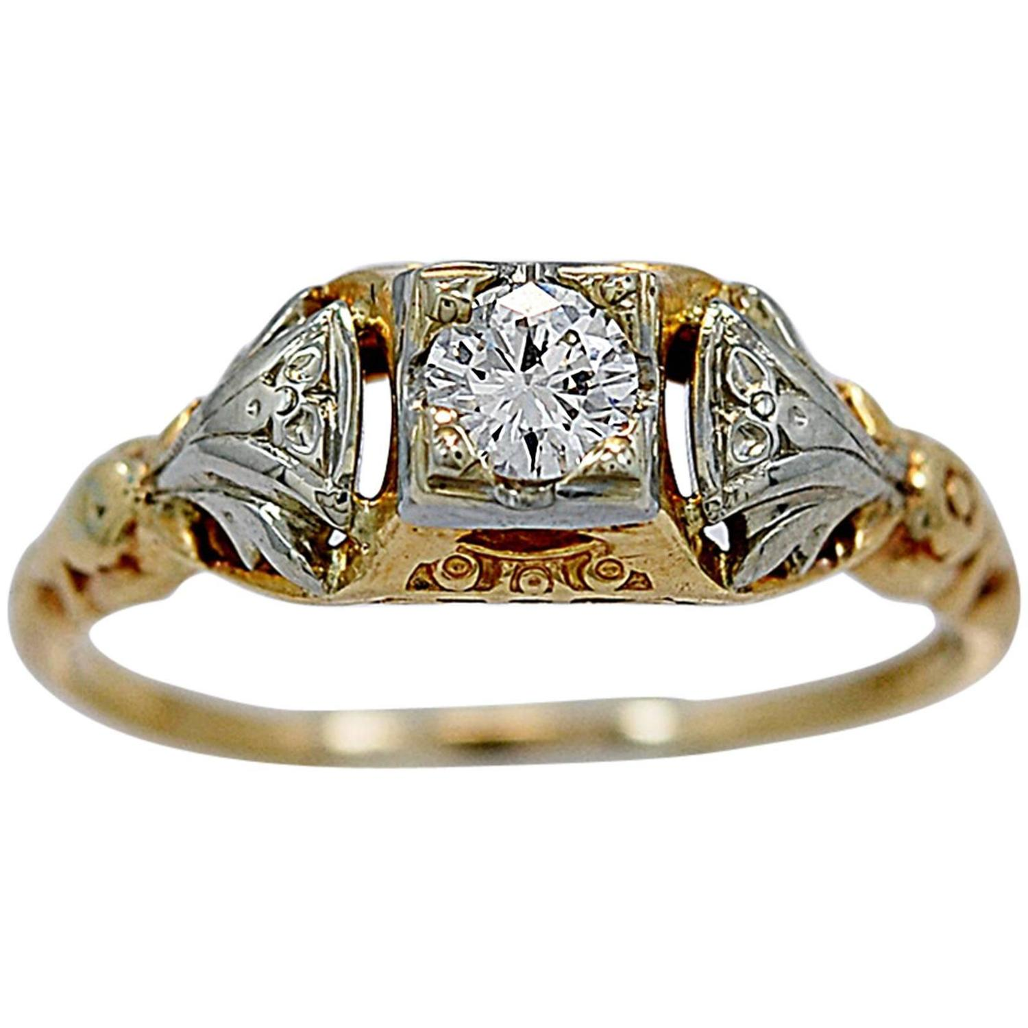 jaybel jewelry jabel antique two color gold engagement ring for 9859