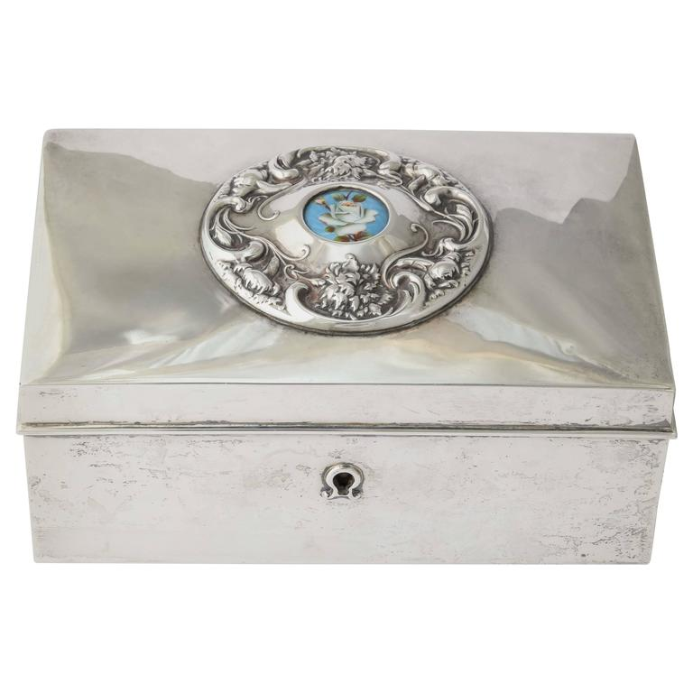 19th Century American Silver Love Letter Box For Sale
