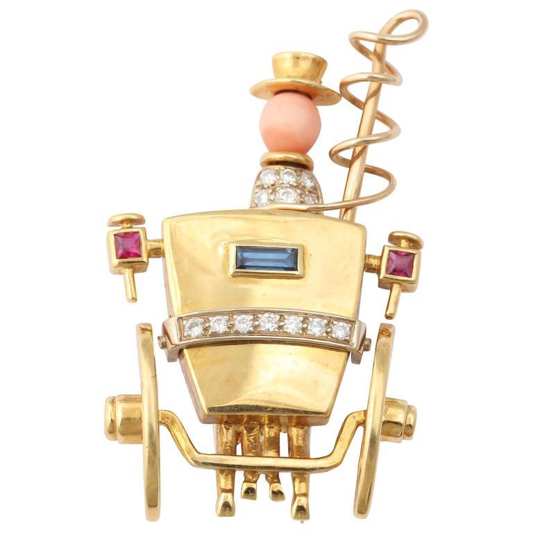 Sapphire Ruby Diamond Gold Stagecoach Hat Pin