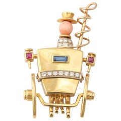 English Sapphire Ruby Diamond Gold Stagecoach Hat Pin, London