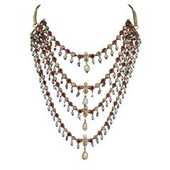 Antique Indian Pearl Ruby Diamond Four Strand Necklace