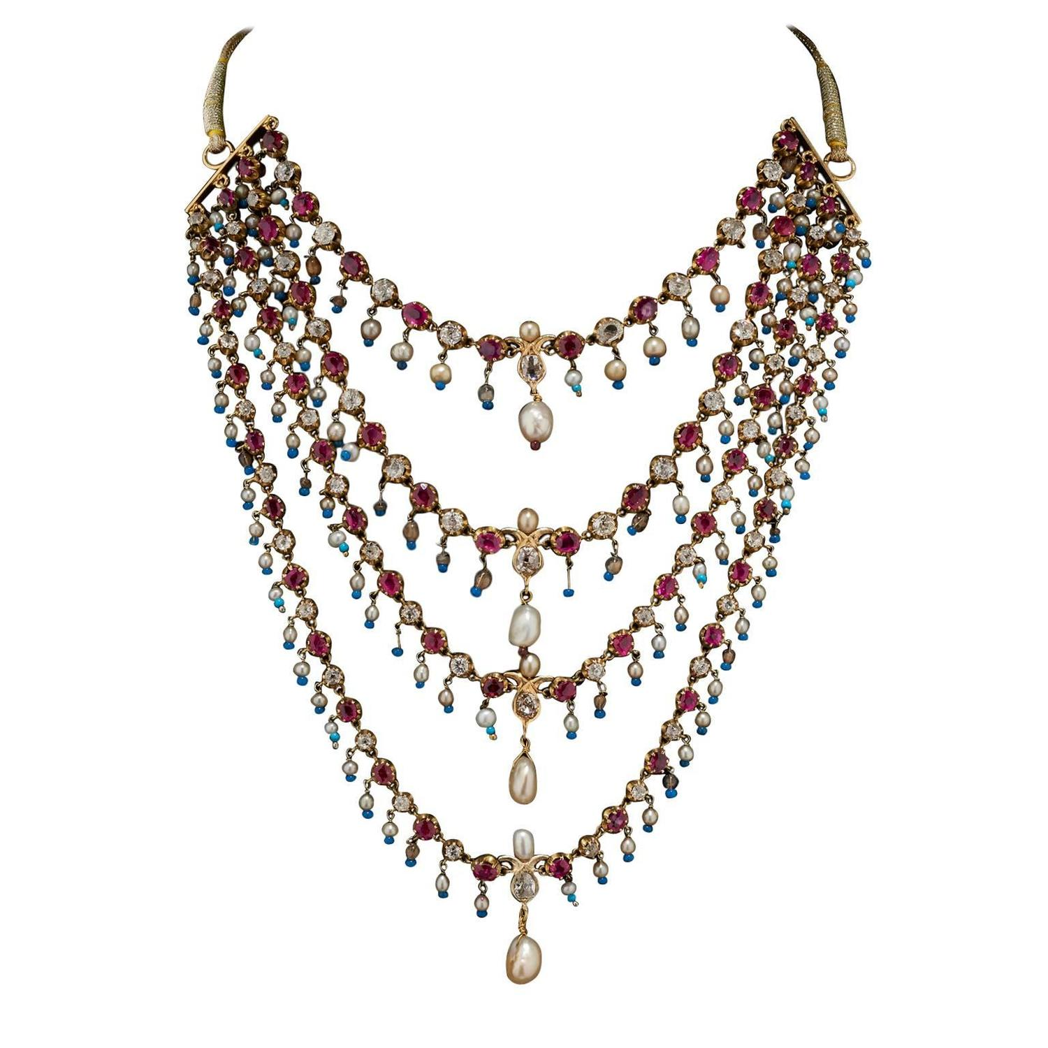 south india necklace vbj style ruby jewels antique indian
