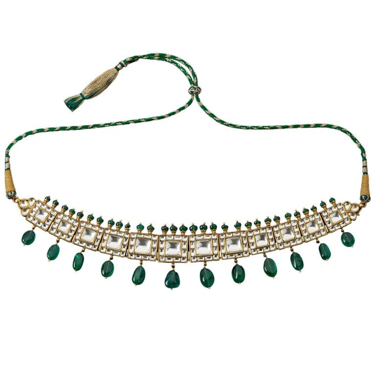 Indian Rock Crystal Emerald Gold Necklace