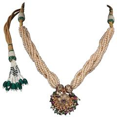 Indian Antique Necklace with Precious Gems and Pearls