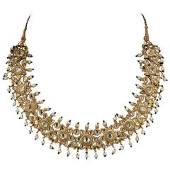 Pearls Diamonds Gold Indian Necklace