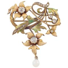 Art Nouveau Enamel Opal Diamond Gold Brooch