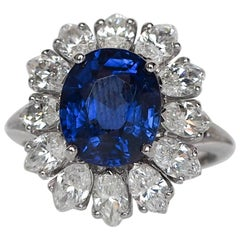 1950s 4.40 Carat AGL Certified Burma No Heat Sapphire Diamond Platinum Ring
