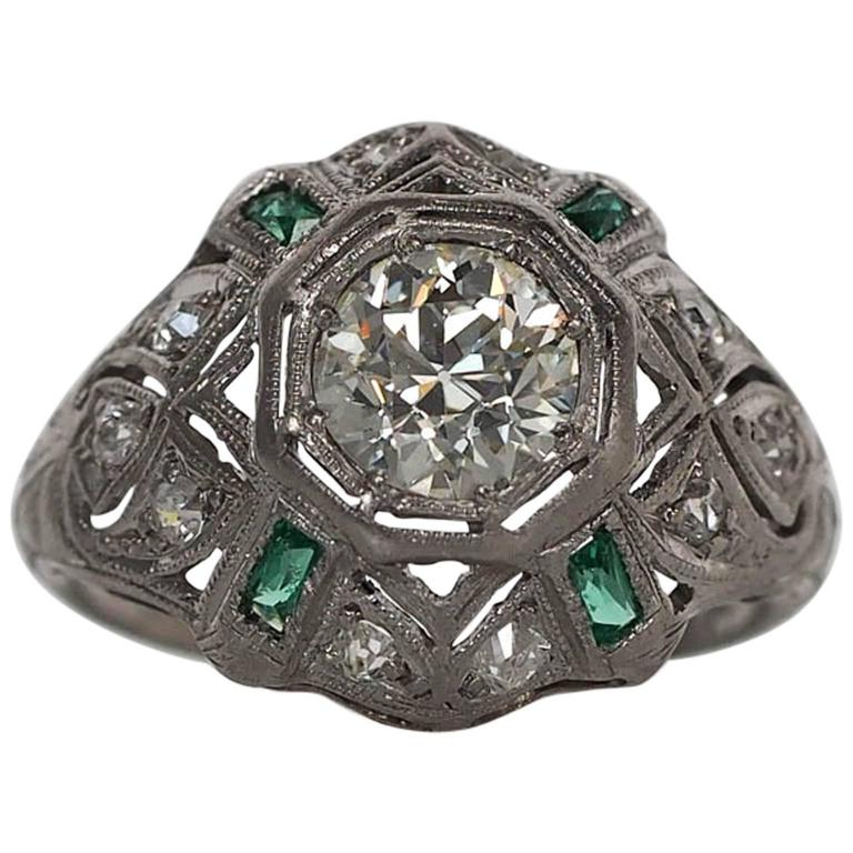 1920s Art Deco .91 Carat Old European Diamond Emerald Platinum Engagement Ring 1