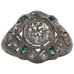 1920s Art Deco .91 Carat Old European Diamond Emerald Platinum Engagement Ring