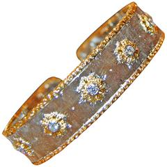 Mario Buccellati Diamond Gold Cuff Bracelet