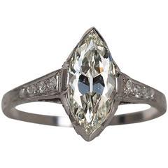 1910s Antique 1.55 Carat GIA Certified Marquise Diamond Platinum Engagement Ring