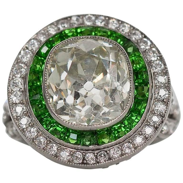 1915 Art Deco 4.05 Carat Cushion Cut Diamond Platinum Engagement Ring