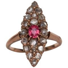 1870s Victorian Pink Sapphire Rose Cut Diamond Gold Navette Ring
