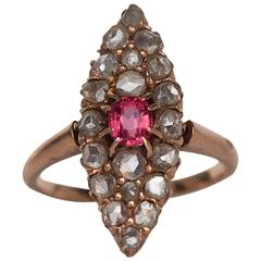 1870s Victorian Pink Sapphire Rose Cut Diamond Gold Navette Ring