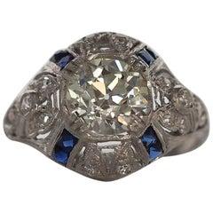 1920s Art Deco 1.67 Carat Old European Diamond Platinum Engagement Ring