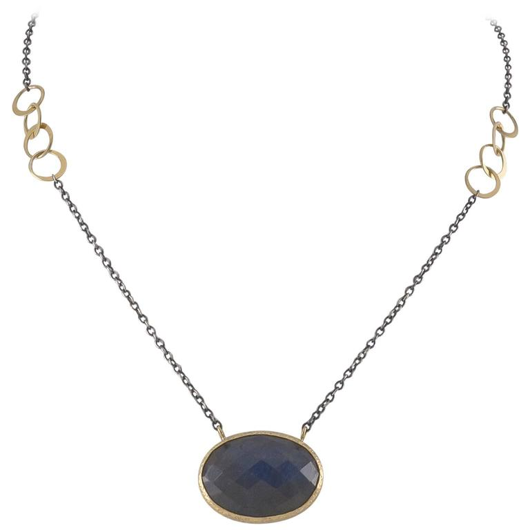 Mixed Metal Rose Cut Labradorite Oxidized Sterling Gold Necklace