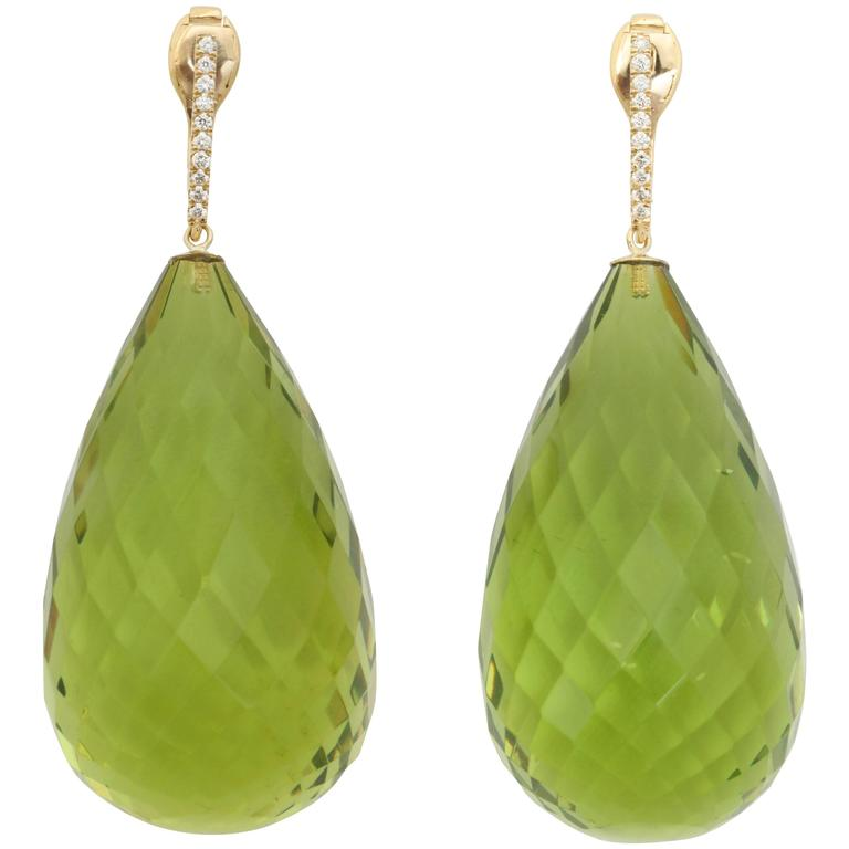 Faceted Green Amber Diamond Gold Drop Earrings