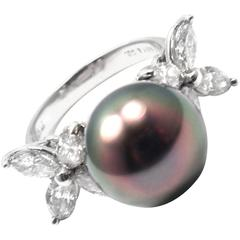 Tiffany & Co. Victoria Large Tahitian Pearl Diamond Platinum Ring